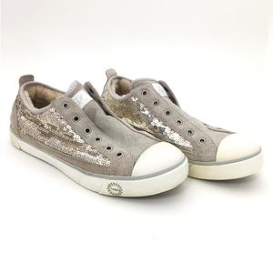 UGG | Silver Sequin Sparkly Suede Slip On Sneakers